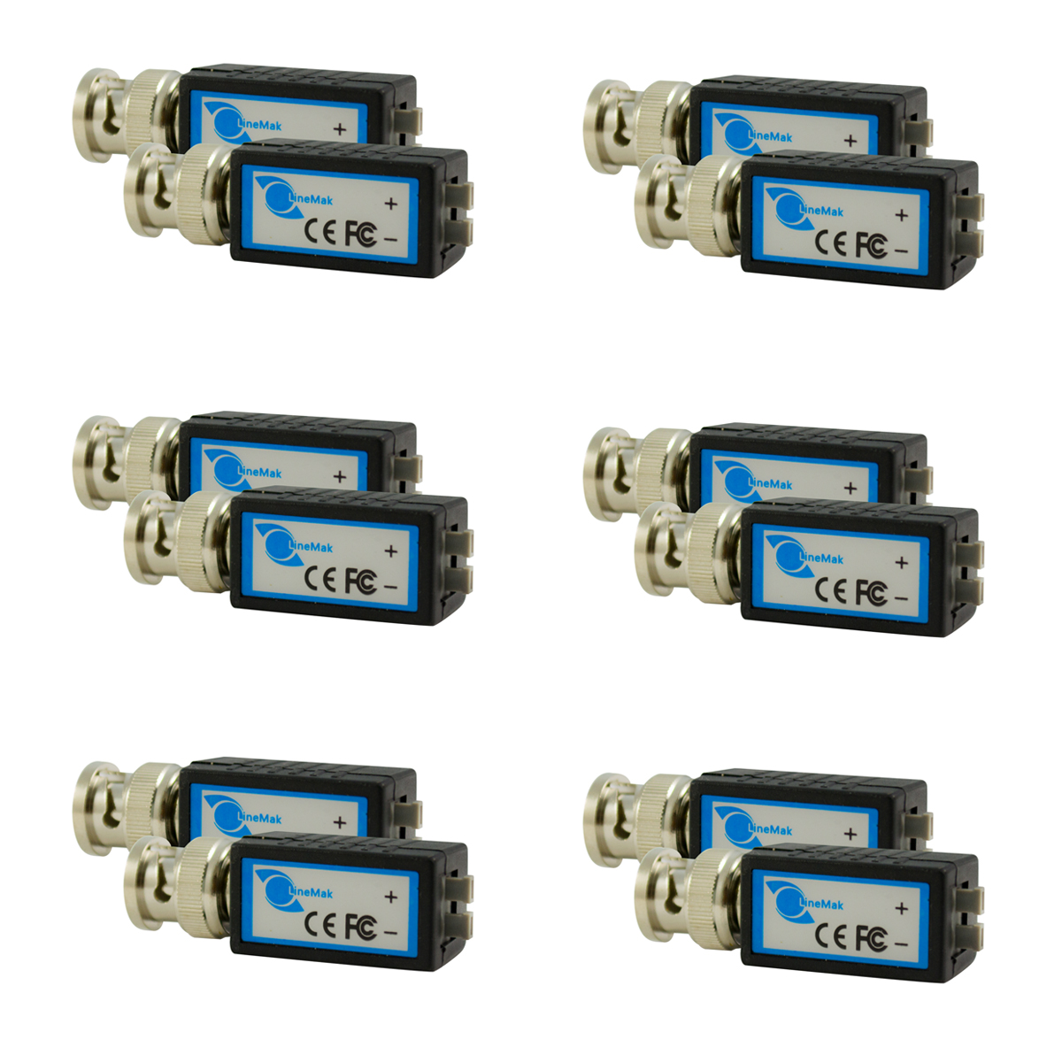 1 Channel passive Video balun 2000ft, Contains 6 Pairs (12 Pcs)