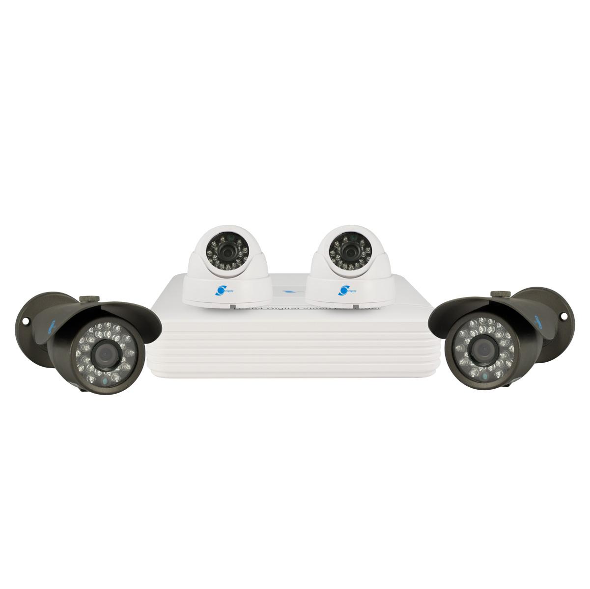 Kit of 4 cameras, HDIS CMOS Sensor, 900TVL, H264/G711A, D1, Pentaplex